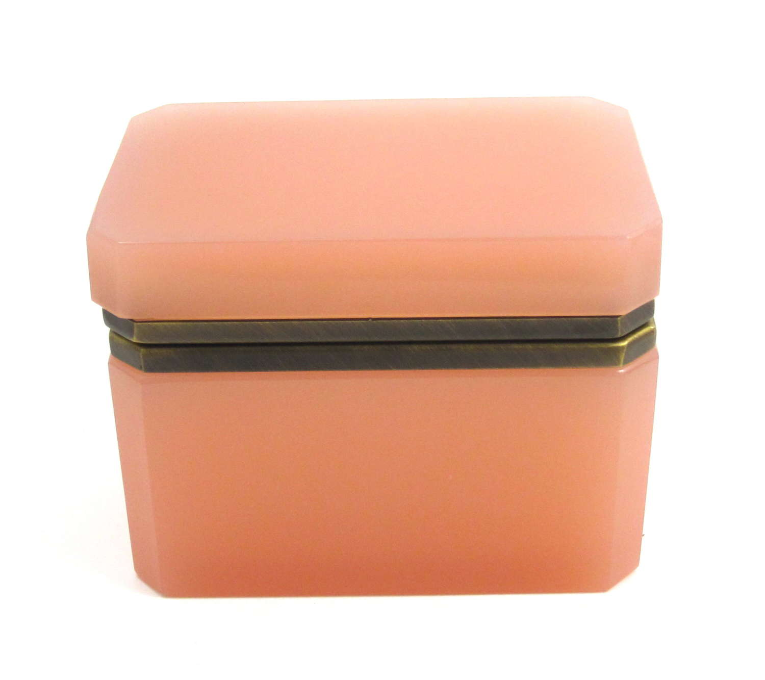 Antique Pink Opaline Glass Box with SmoothDore Bronze Mounts