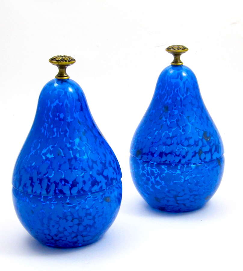 Unusual Pair of Vintage Glass Pear Boxes with Dore Bronze Finials