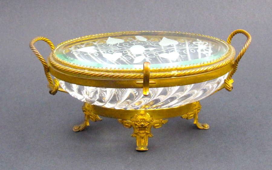 Antique French Signed BACCARAT Cut Crystal Jewellery Casket