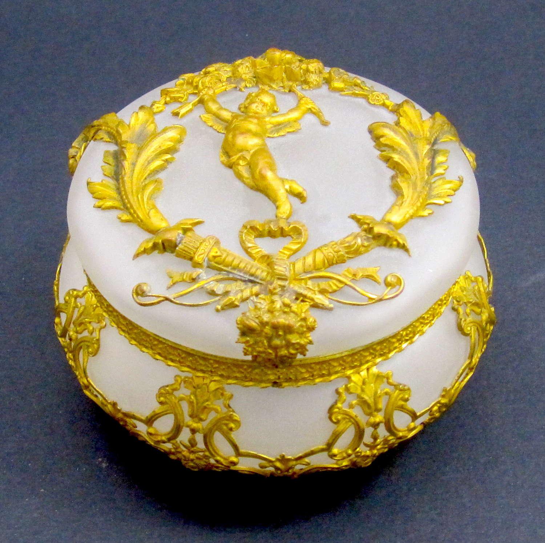 Antique High Quality Napoleon IIICrystal & Dore Bronze Cherub Casket