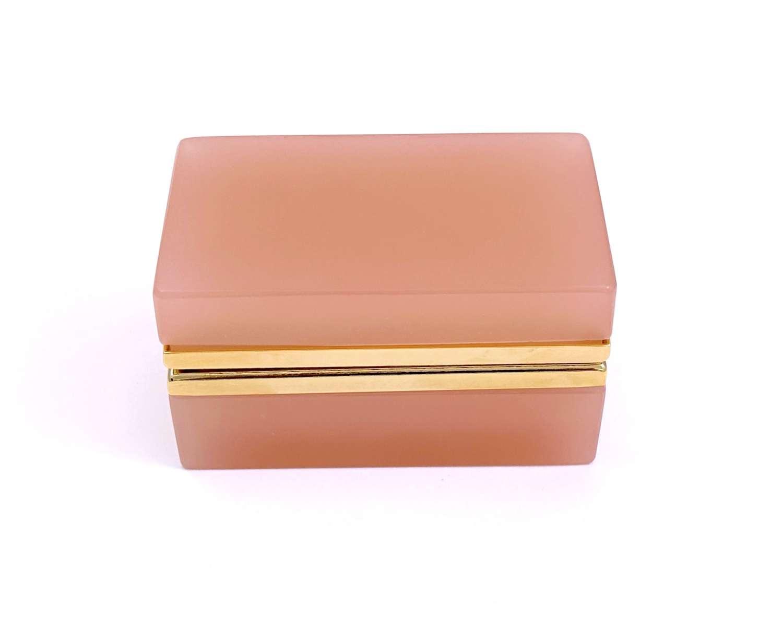 Antique Murano Pink Opaline Glass Rectangular Casket Box