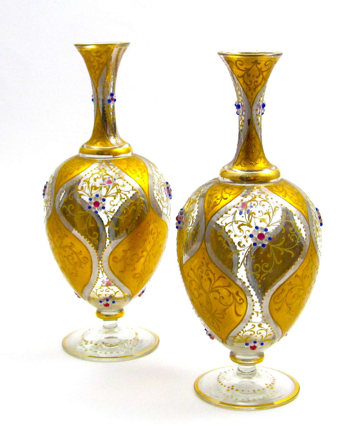 Pair of Antique Moser Glass Vases with Jewelled Flowers