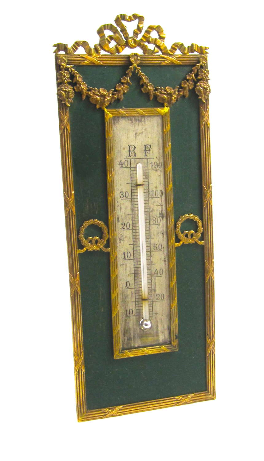 Antique French Napoleon III Desk Thermometer with Gilt Dore Bronze Bow
