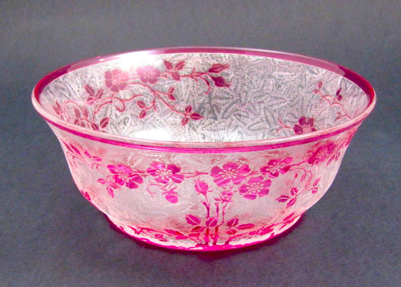 Antique BACCARAT Eglantier Pattern Cranberry Acid Etched Bowl