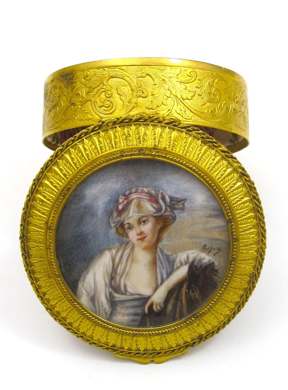 Antique Fine Palais Royal Dore Bronze Jewellery Casket with Miniature