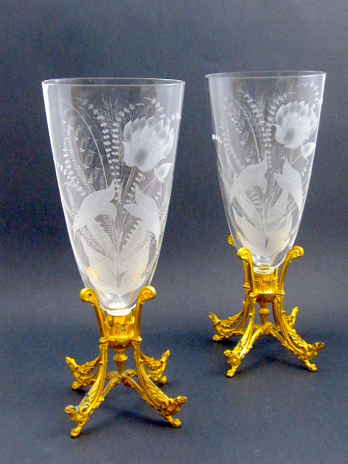 Pair of Exceptional BACCARAT Crystal Vases with Dore Bronze Mounts.