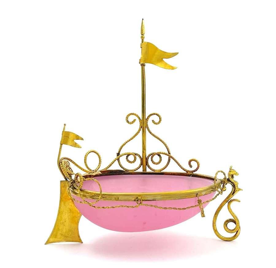 Large Rare Antique Palais Royal Pink Opaline Glass Boat
