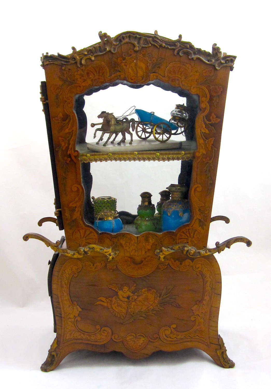 Exceptional French Antique Vitrine Shaped as a Sedan Chair