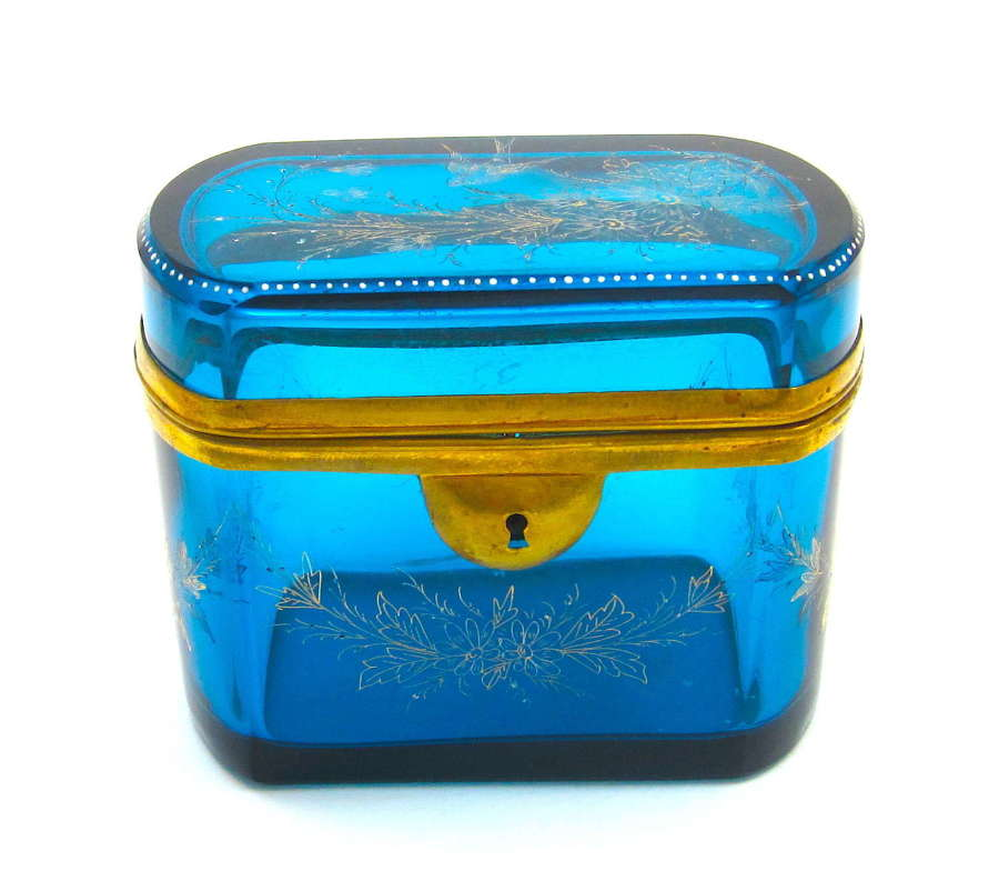 Large Antique French Turquoise Blue Crystal Casket Enamelled with Pret
