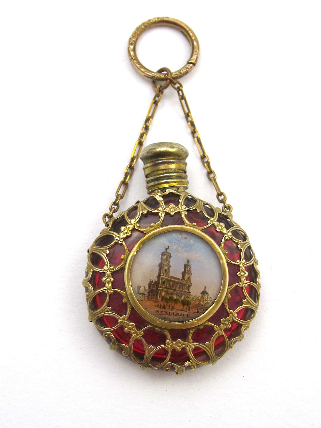 Antique Palais Royal Ruby Red Glass Scent Bottle