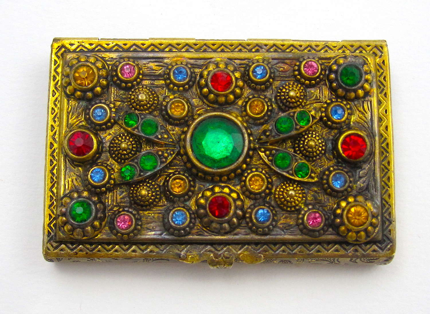 Antique Dore Bronze Box Encrusted with Jewels