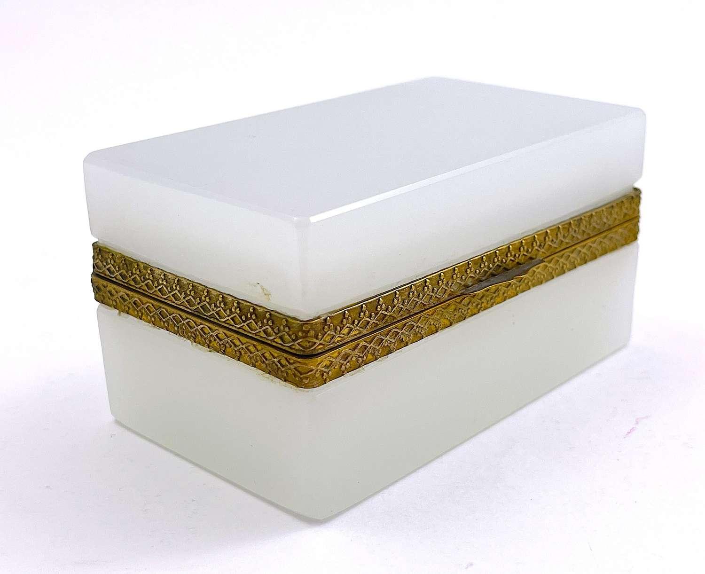Antique White Opaline Glass Rectangular Casket Box