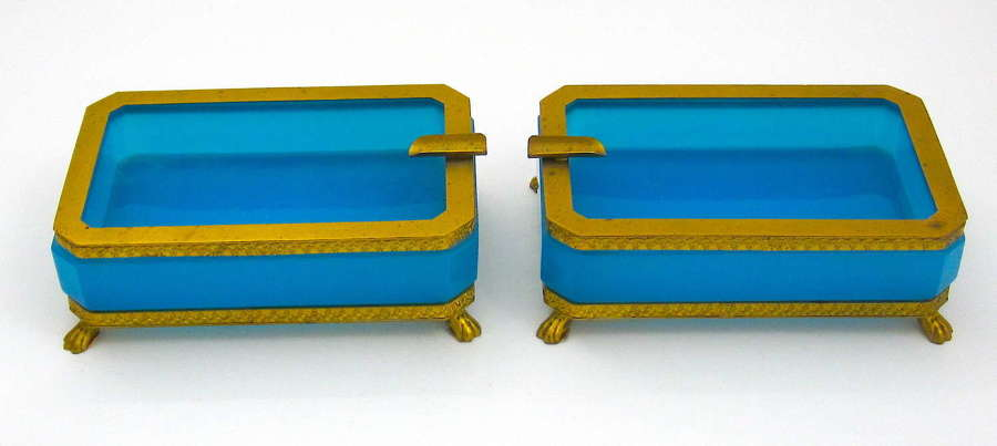 Pair of Vintage Blue Opaline Ashtrays with Dore Bronze Feet.