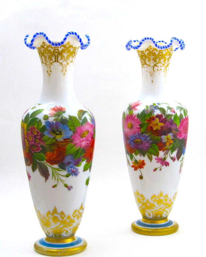 Stunning Large Pair Baccarat Opaline Vases by Jean Francois Robert