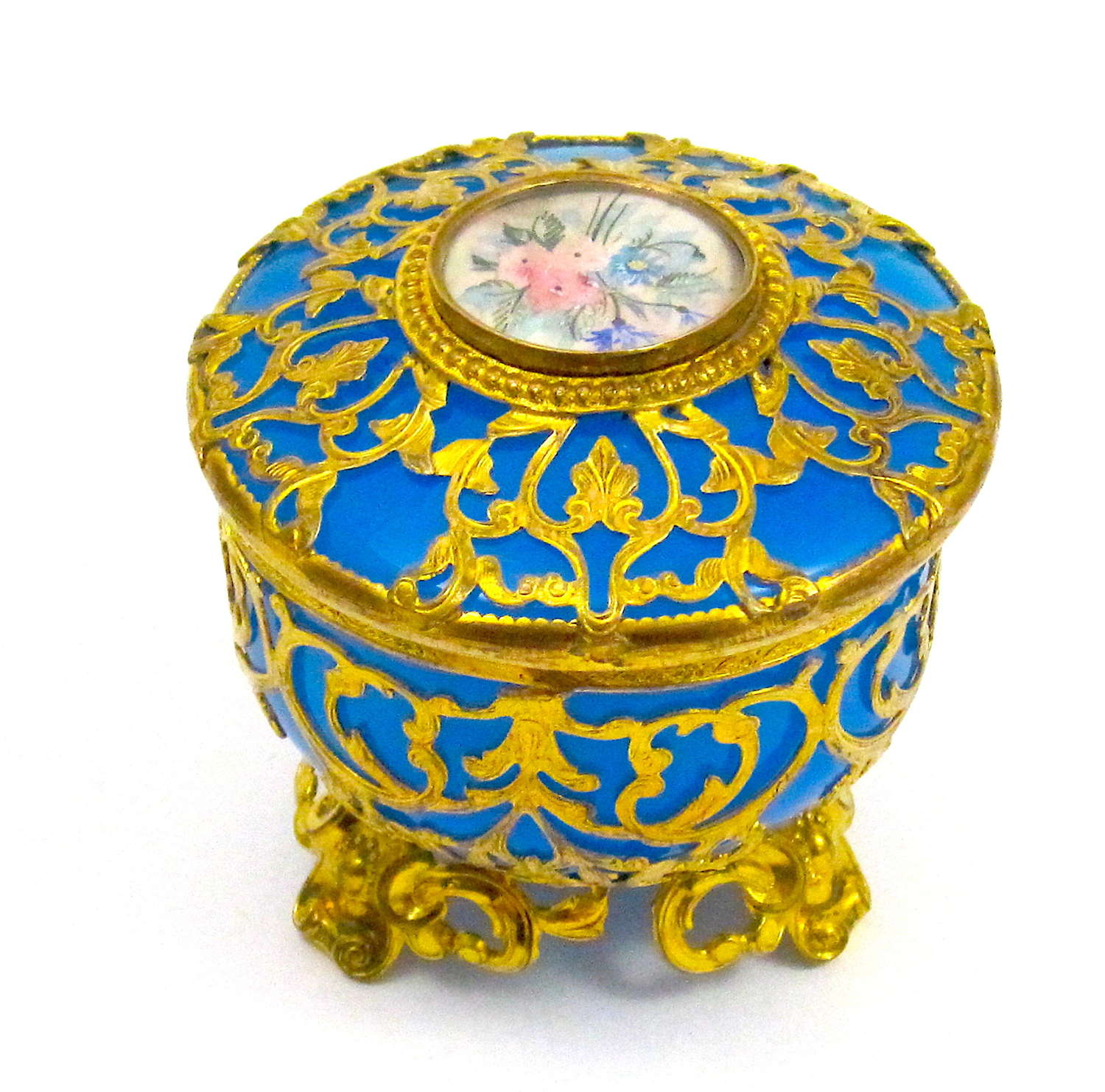 Antique French Blue Opaline Glass Box with Miniature of Flowers.