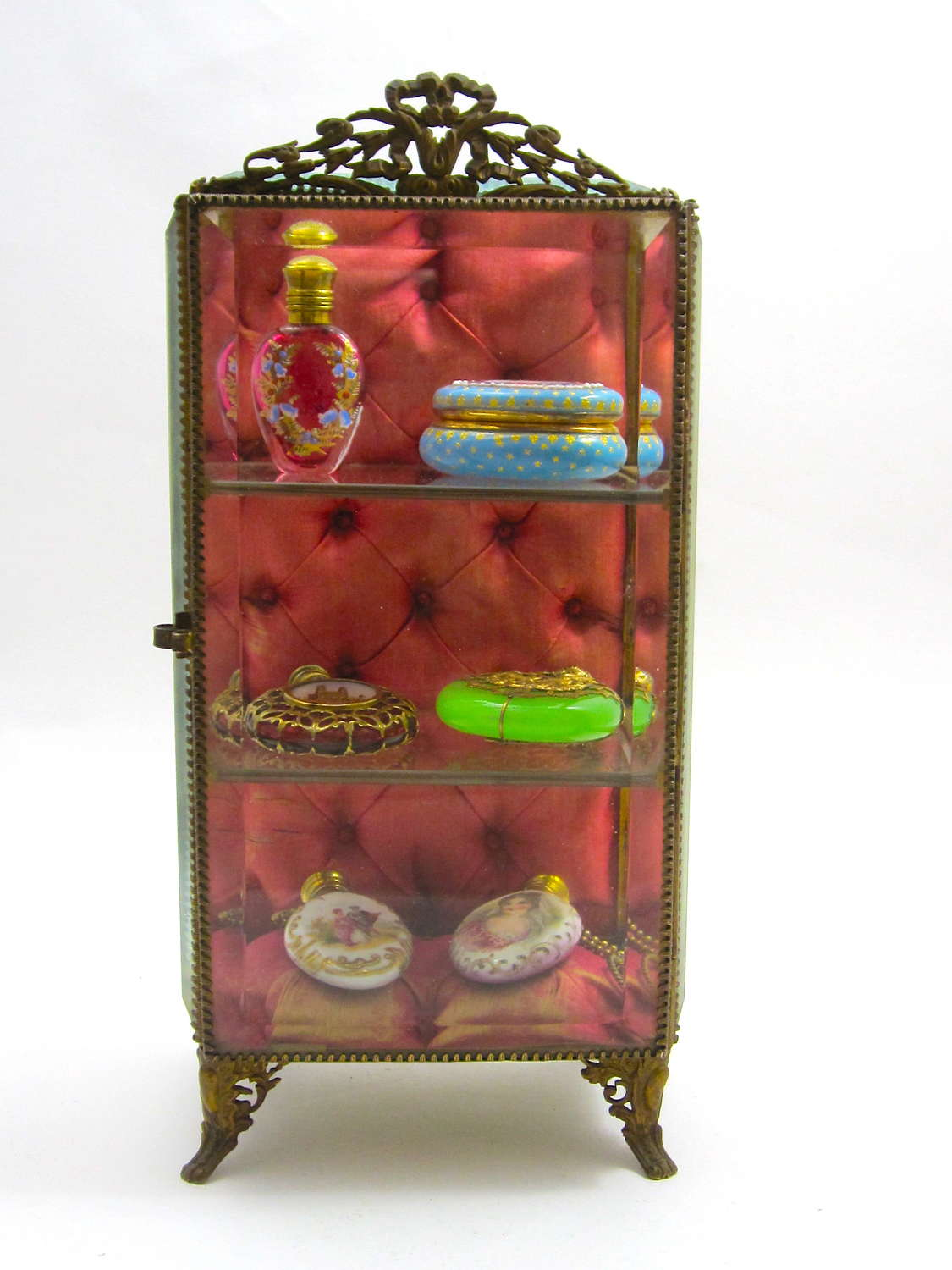 Antique French Vitrine Box with a Beveled Glass Door and 3 Shelves