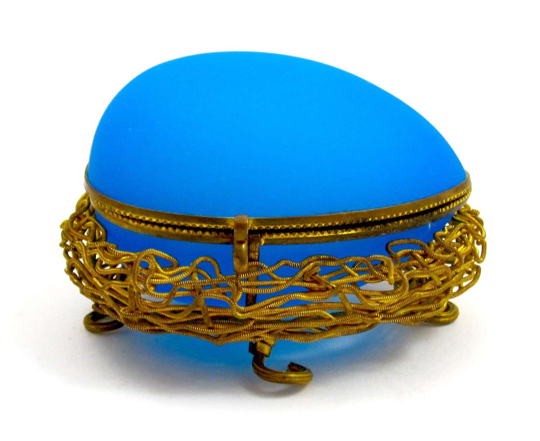 Antique Palais Royal BlueOpaline Glass Egg Shaped Casket Box