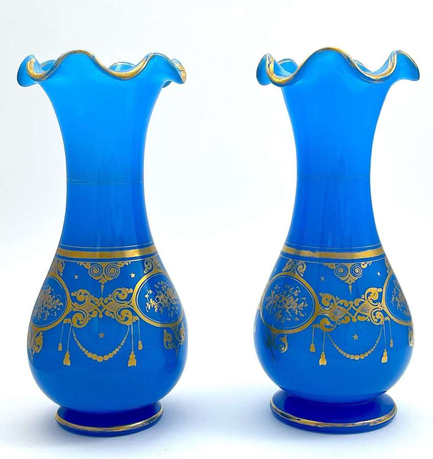 A Pair of High Quality Baccarat Blue Opaline Glass Vases
