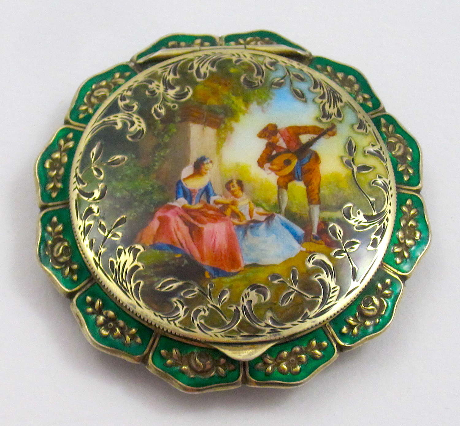Stunning AntiqueSterling Silver and Guilloche Enamel Compact Case