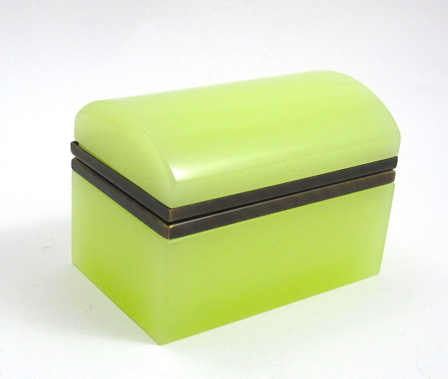 Rare Vintage Yellow Opaline Glass Rectangular Casket with Domed Lid