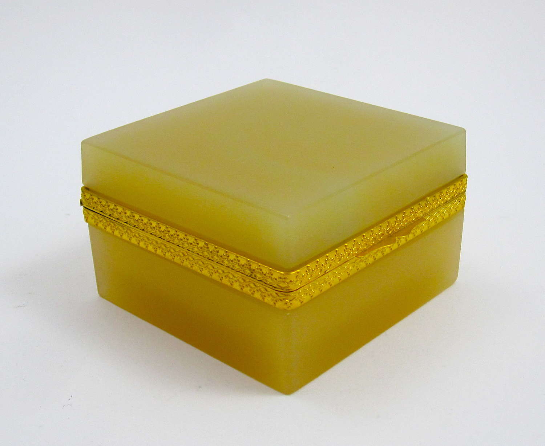Antique Murano Square ApricotOpaline Glass Casket Box