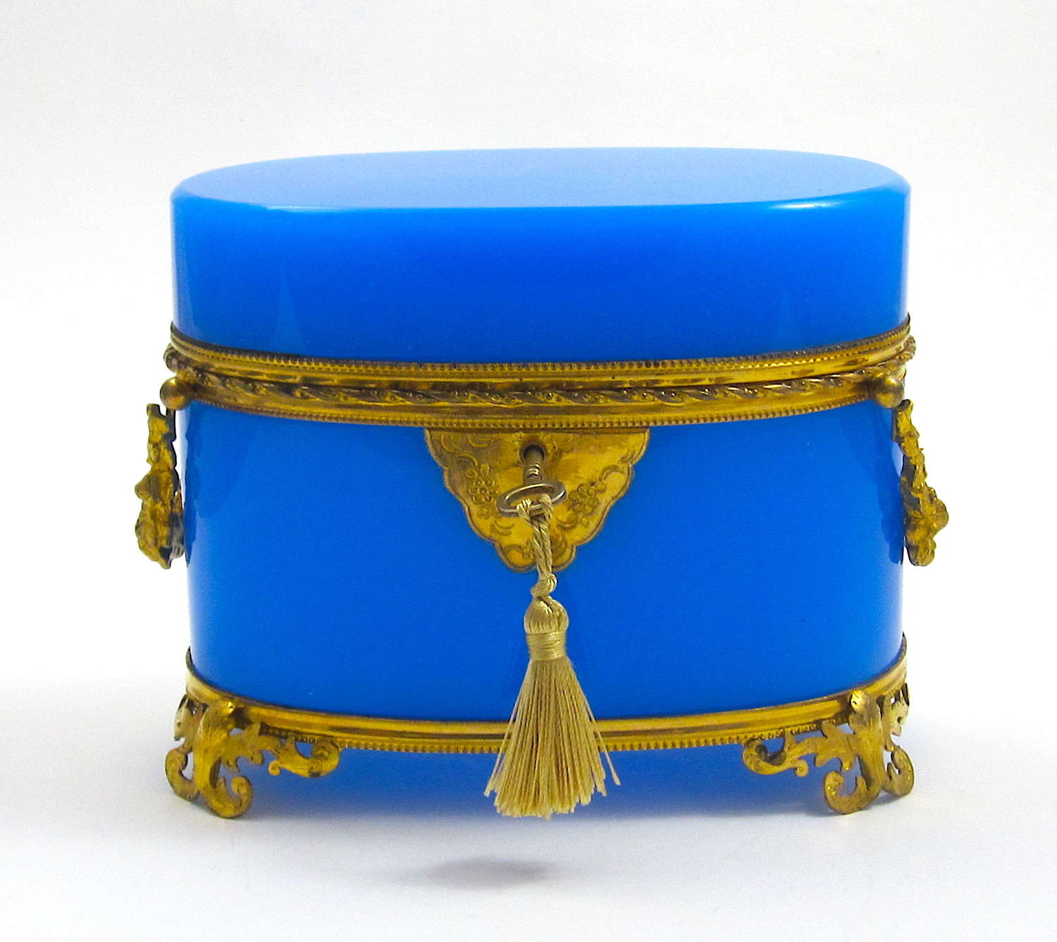 Large High Quality French Blue Opaline Glass Oval Casket Box.