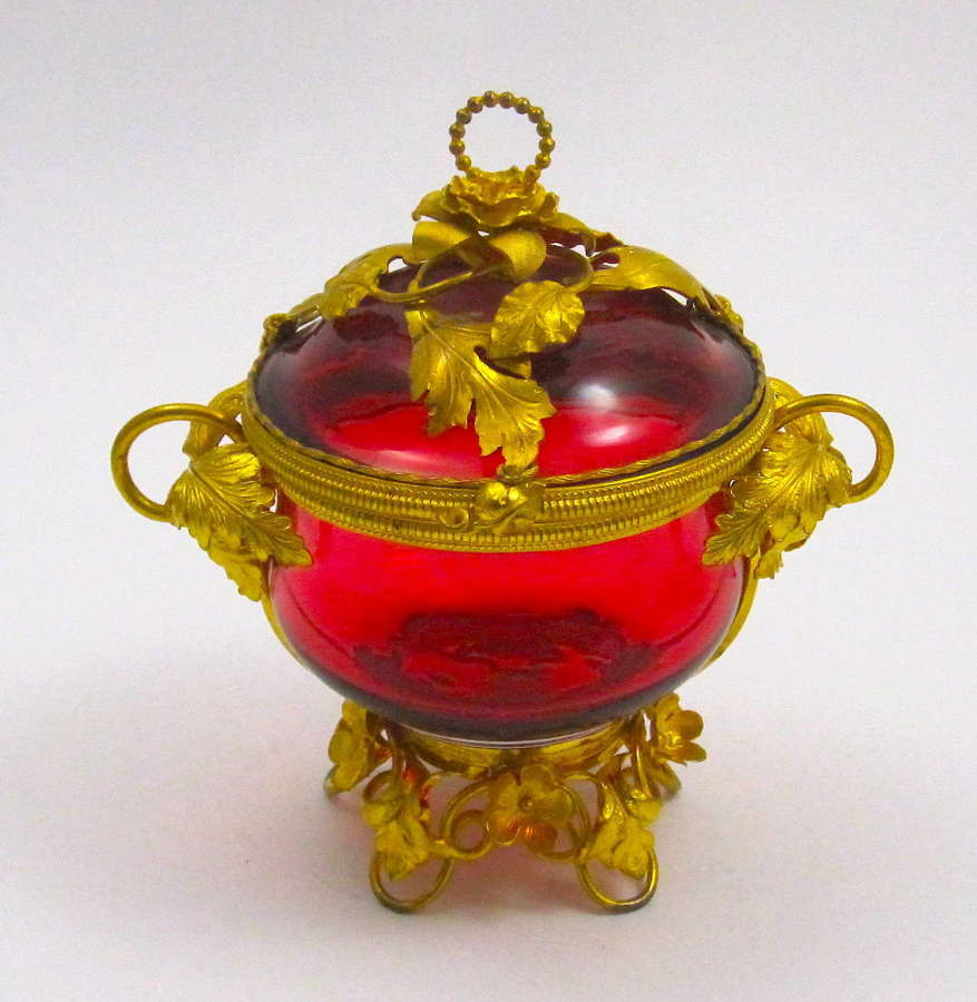 Large Antique French Ruby Red Crystal Glass Box and Cover