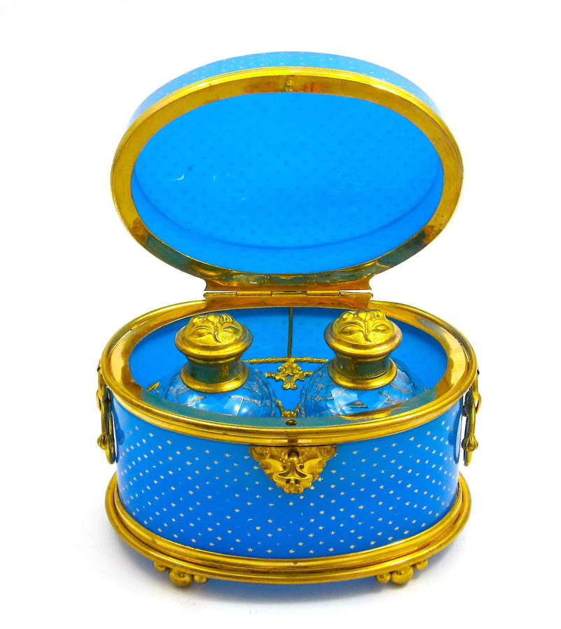 Large Antique BACCARAT French Blue Opaline Glass Perfume Casket
