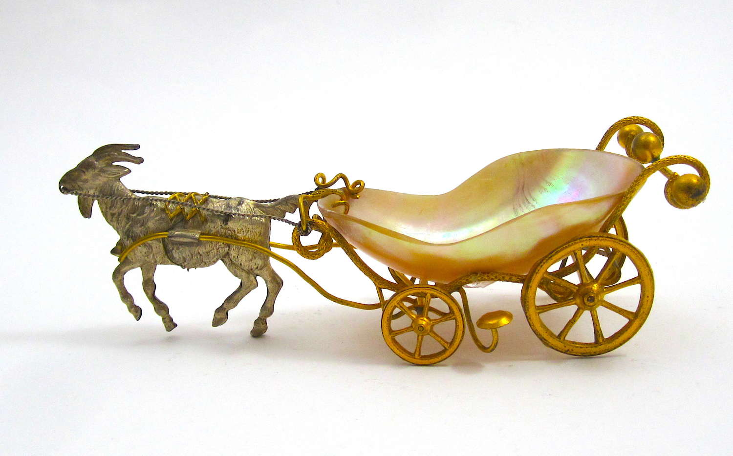 Unusual Antique French Palais Royal Mother of Pearl Cart