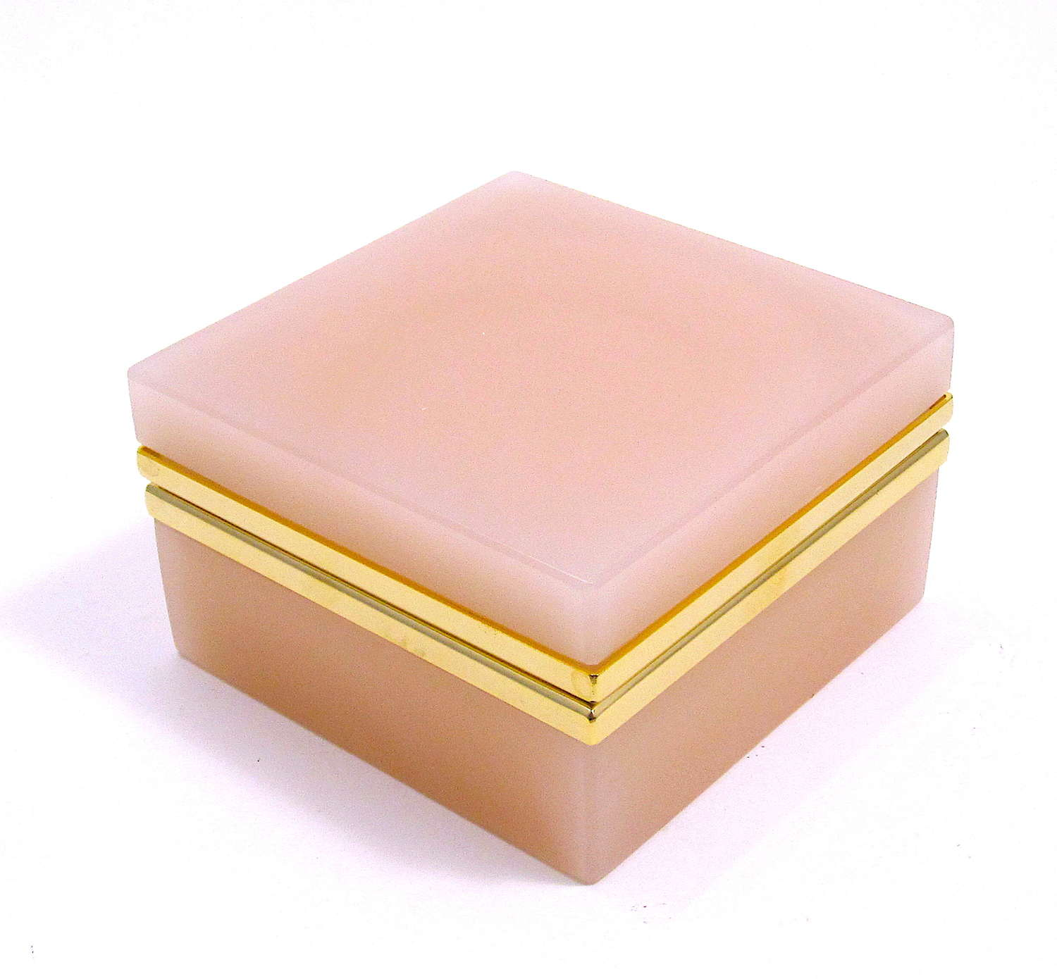 Vintage Pale Pink Opaline Glass Square Box