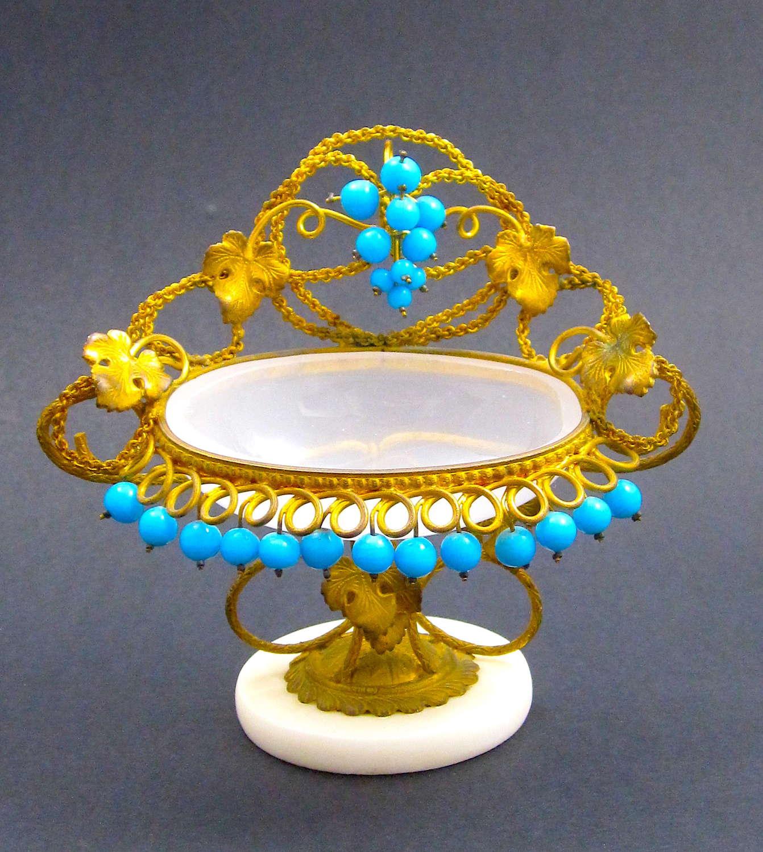 Antique Palais Royal White Opaline Glass Vide Poche