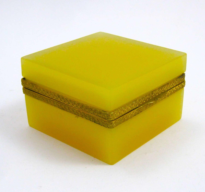 Vintage Murano Square Apricot Opaline Glass Casket Box