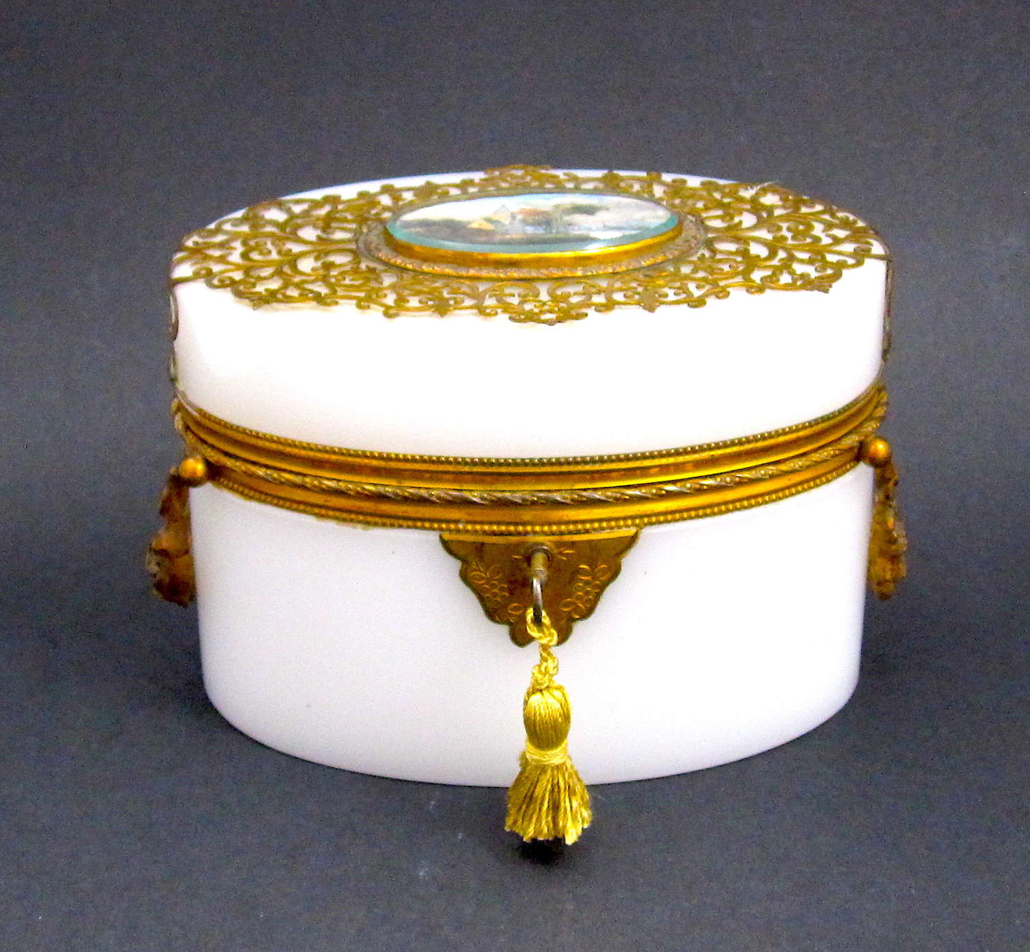 A Large Antique French Oval White Opaline Glass Casket