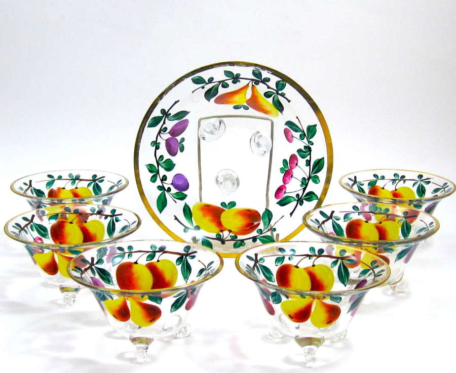Antique Bohemian MOSER Enamelled Glass Set of Bowls with Applied Scrol