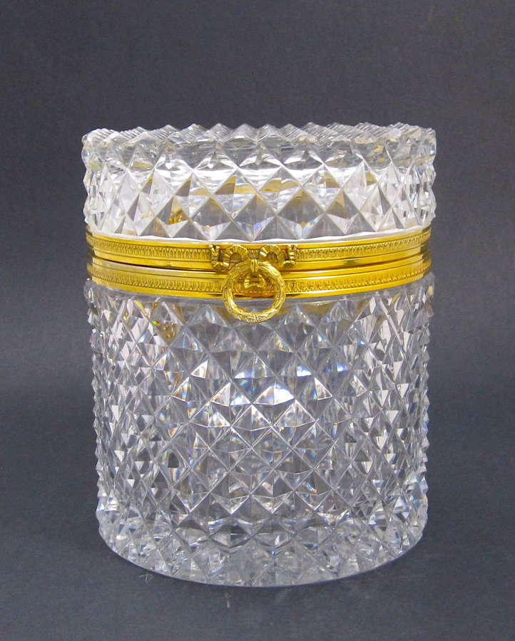 Large Antique BACCARAT Diamond Cut Crystal Casket