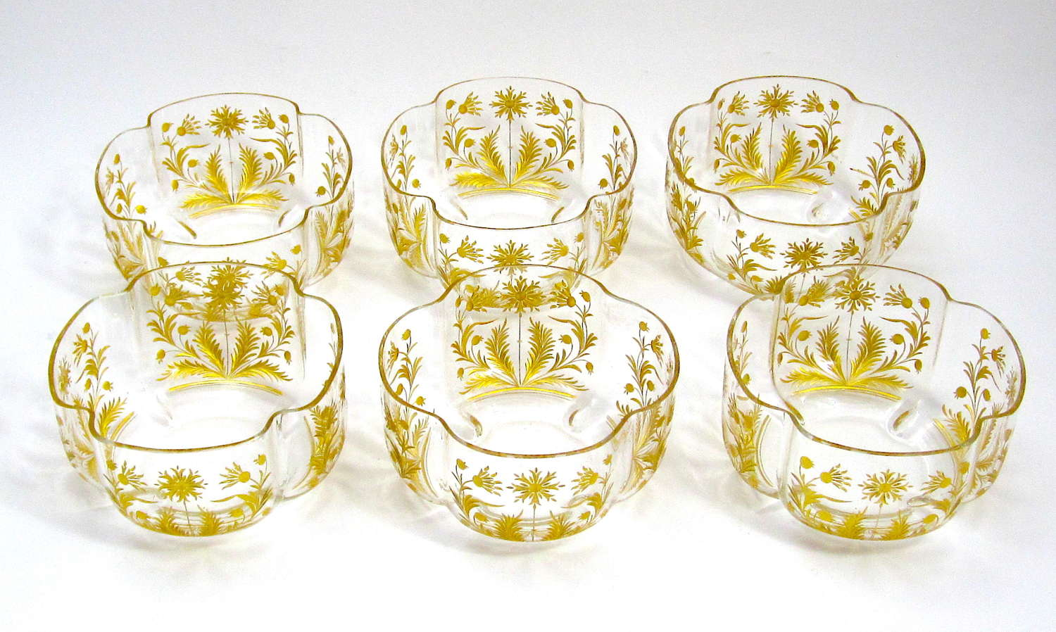 A Beautiful Set of 6 Antique St Louis Gilded Bowls
