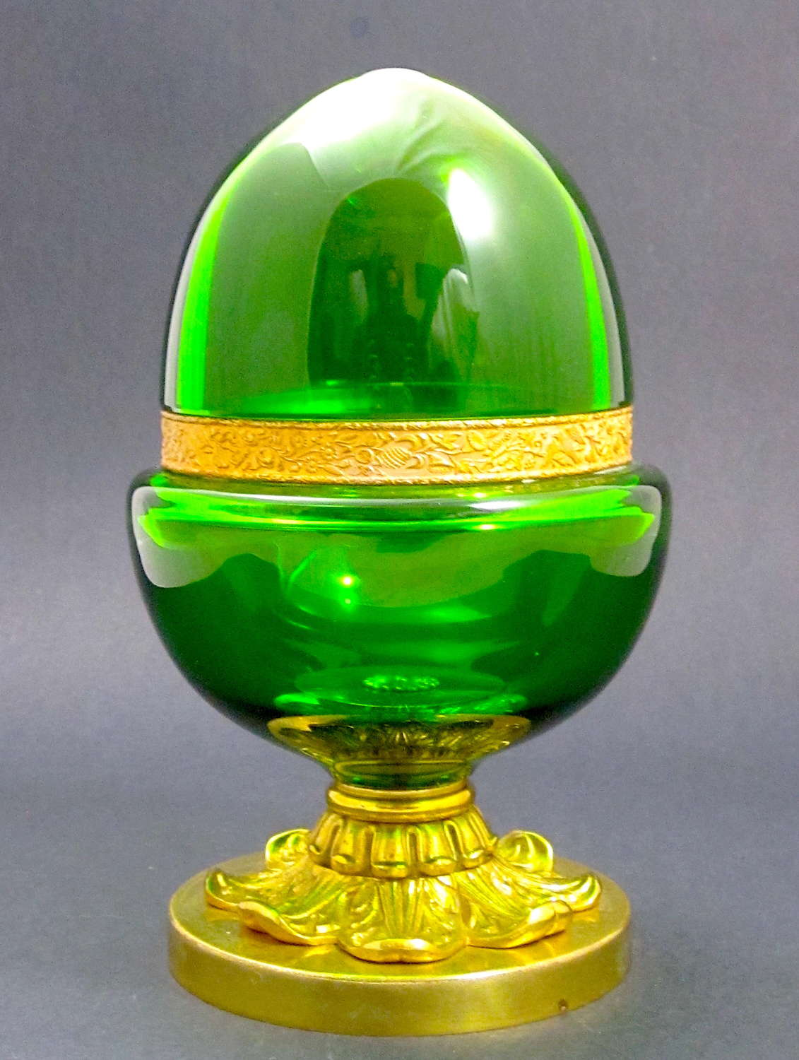 A Large Antique French Emerald Green Glass Egg Shaped Casket and Lid