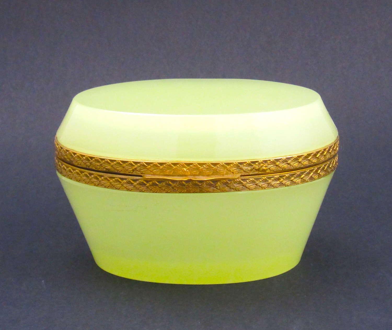 Antique Murano Yellow OpalineGlass OvalCasket Box