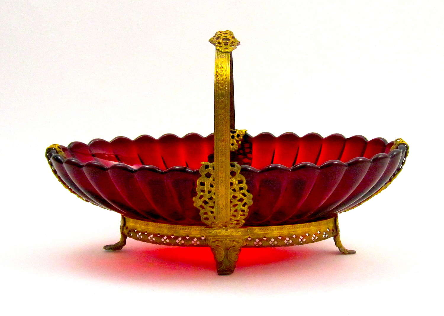 Antique French Ruby Red Basket with Undulating Rim