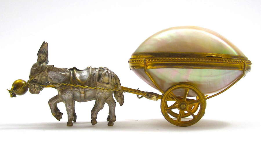 Antique Palais Royal Cart Pulled by 2 Finely Modelled Donkeys
