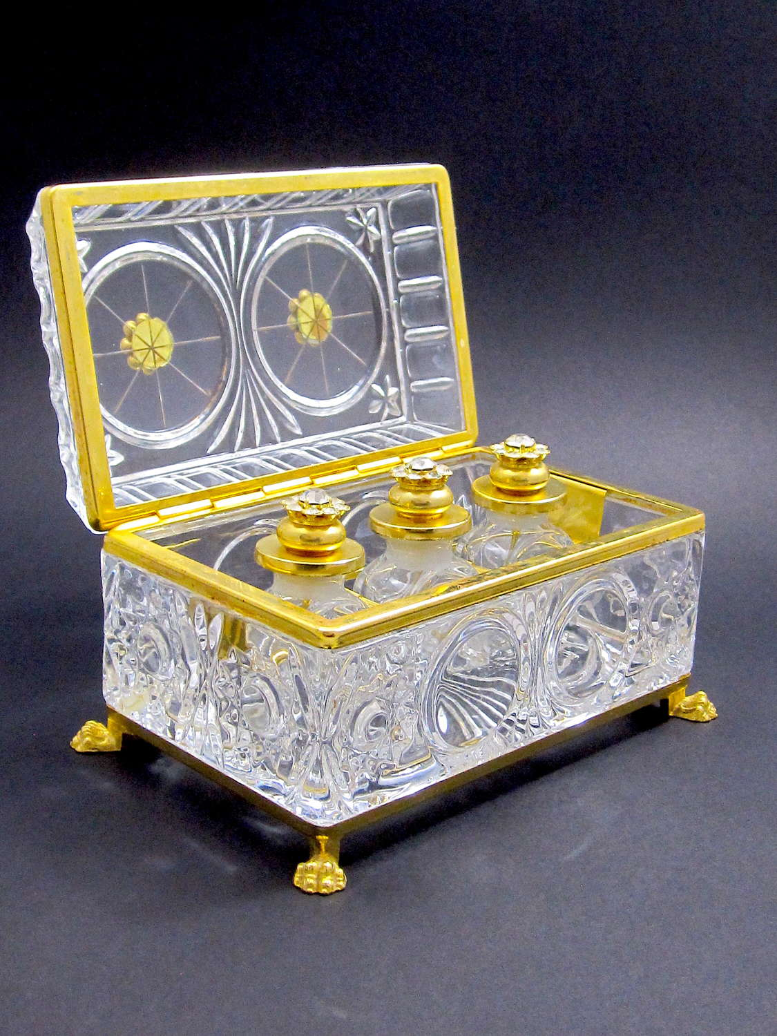 Large Vintage French Perfume Casket Decorated with Jewelled Flowers