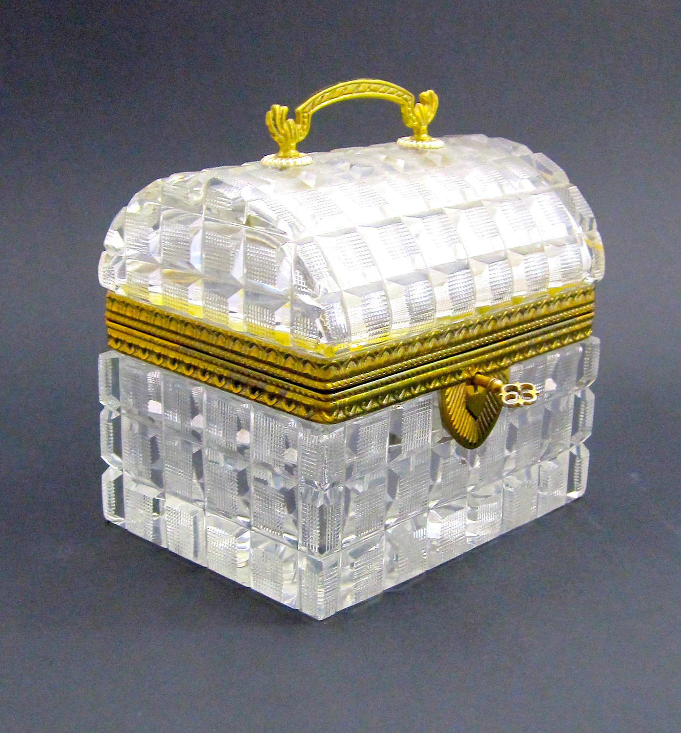 Antique BACCARAT Rectangular Highly Cut Crystal Casket with Domed Lid