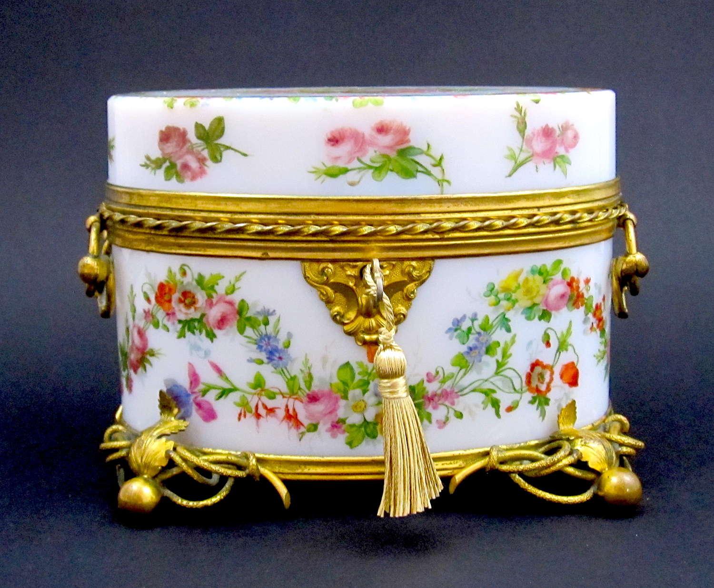 Antique Baccarat Opaline Casket by Jean Francois Robert