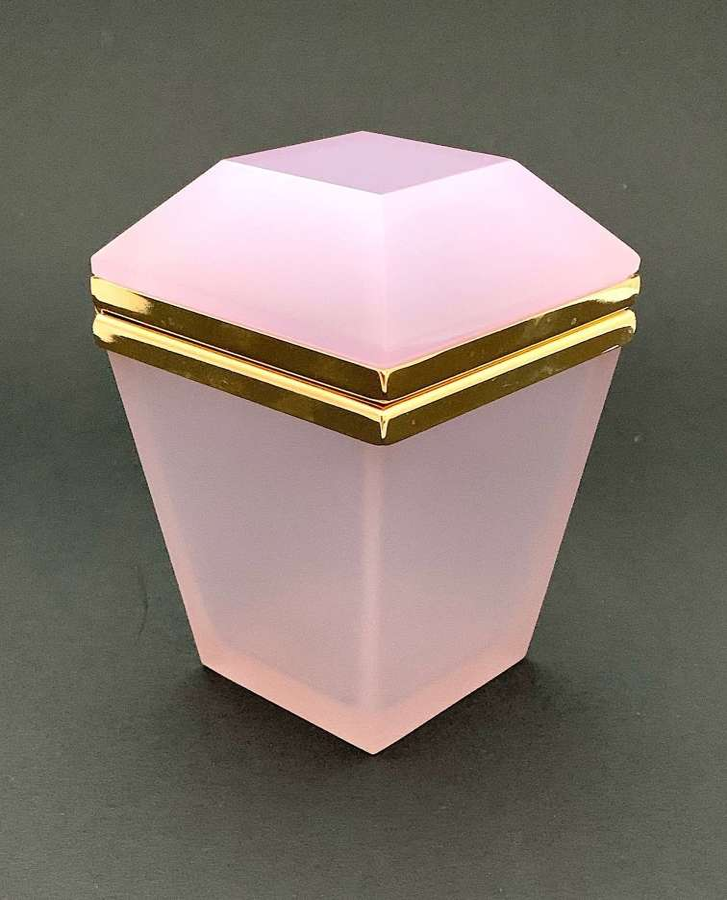 Unusual Antique Pink Alexandrite Opaline Glass Casket