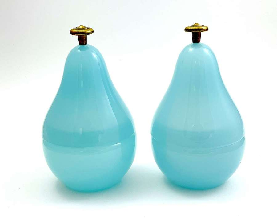 Pair of Vintage Blue Opaline Glass Pear Boxes with Dore Bronze Finial