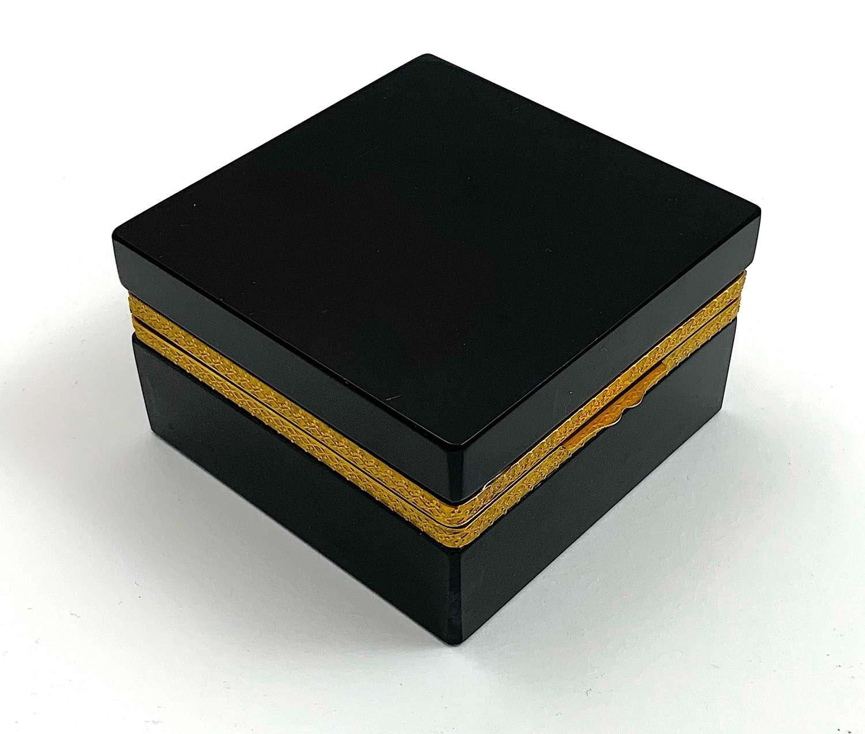 Vintage Murano Square BlackOpaline Glass Casket Box
