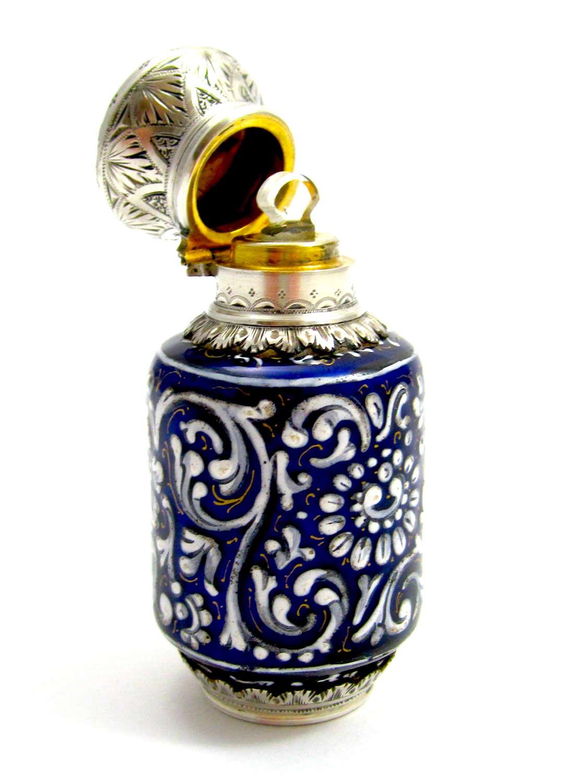 Fine Antique FrenchCobaltBlue Enamel Perfume Bottle