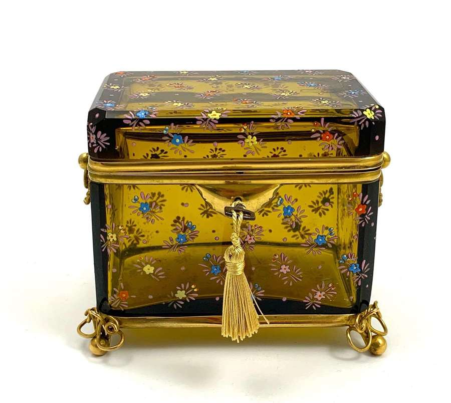 Antique Bohemian MOSER Amber Glass Casket Box with Flower Decoration
