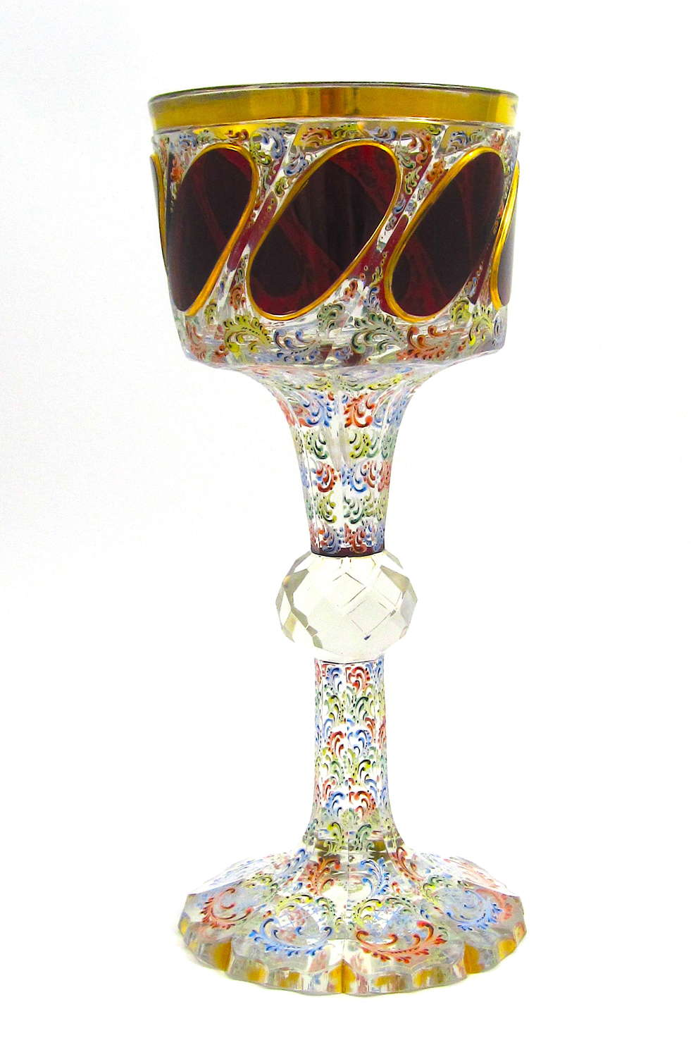 A Tall Antique Moser Vase Decorated with Red Jewel Cabouchon Panels