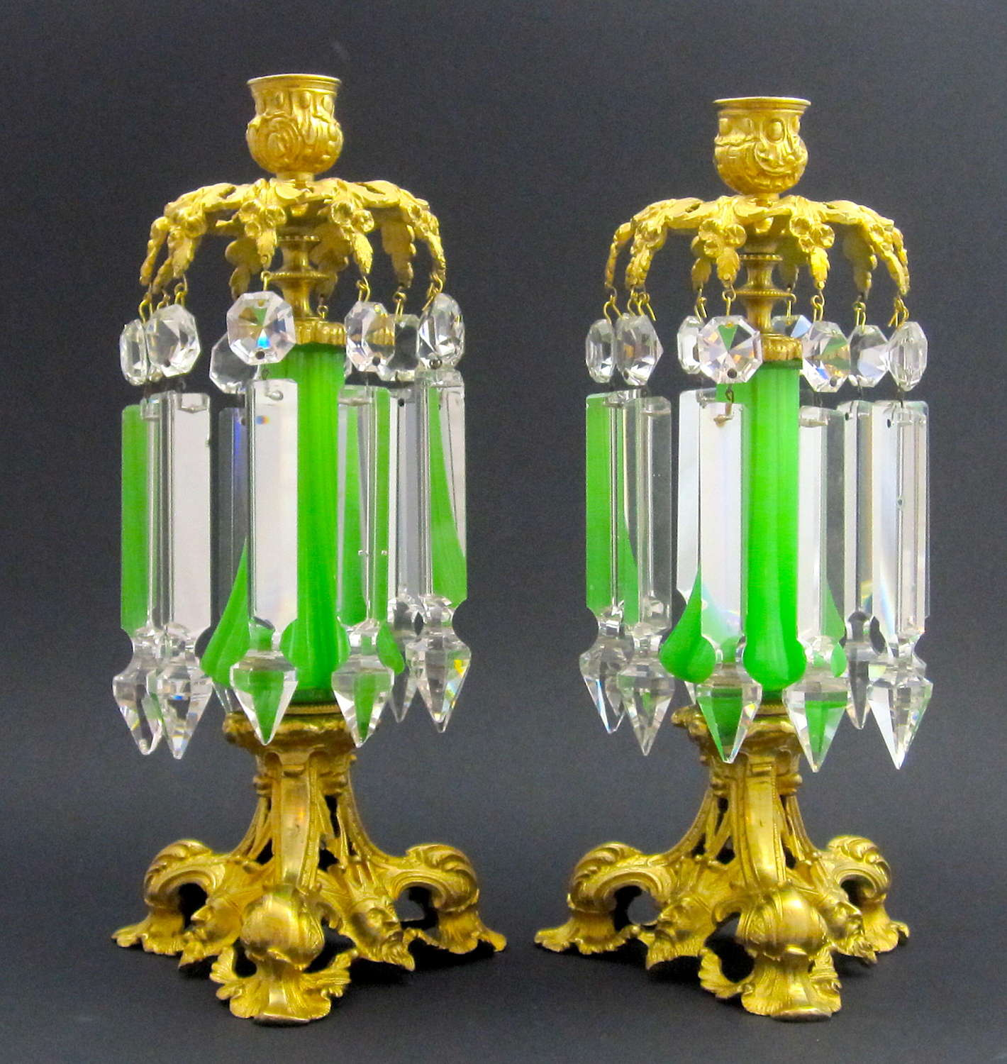 Pair of Antique French Green Opaline Glass Candlestick Lustres